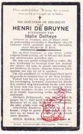 DP Henri De Bruyne ° Woumen Diksmuide 1866 † Houthulst 1928 X Idalie Delheye - Images Religieuses