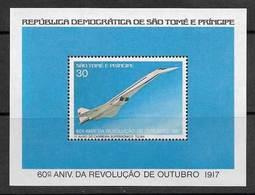 Sao Tome Et Principe 1977 Avion Concorde Bloc St Thomas & Prince Concorde Airplane Plane ** - Avions