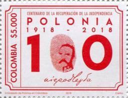 Lote 2018-22, Colombia, 2018, Sello, Stamp, Centenario De La Recuperación De La Independencia De Polonia, Polska - Colombia