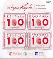 Lote 2018-22P, Colombia, 2018, Pliego, Sheet, Centenario De La Recuperación De La Independencia De Polonia, Polska - Colombia