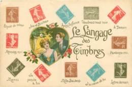CPA -  LE LANGAGE DES TIMBRES - Timbres (représentations)