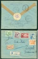 Yugoslavia 1955 Bahnpost Railway Post Beograd-Ljubljana C 9 Recommended Letter From Novi Sad To Zagreb - Covers & Documents