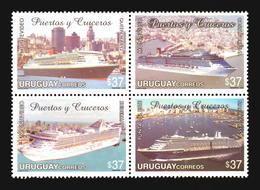TOURISMUS, BOOTE, KREUZFAHRTEN HAFEN URUGUAY, SKYLINE, ARCHITEKTUR, MNH ** - Schiffe