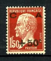 255 -  +50c Sur 1F50 Rouge Brun Pasteur Caisse D'Amortissement - Neuf N** - Très Beau. - France