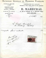 Marbrerie Funéraire MARECHAL R., Marbrier, 132 Rue De Chatenay ANTONY- 1939 - Artesanos