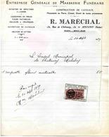 Marbrerie Funéraire MARECHAL R., Marbrier, 132 Rue De Chatenay ANTONY- 1939 - Petits Métiers