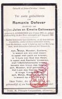 DP Romanie Defever / Callewaert 11j. ° Adinkerke De Panne 1910 † 1921 - Images Religieuses