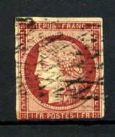 6 - 1F Carmin Cérès 1849 - Oblitéré Grille Sans Fin - Cote 950 Eur. - 1849-1850 Ceres