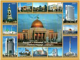 Turkmenistan. 2006 Ashkhabad Architecture. M/S Of 12v: 8x3000,4x5000 Michel # 197-08 Bg. - Turkménistan