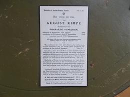 Oud Bidprentje: August KIMPE Echtg. Pharailde VANEESSEN, Aertrycke 14/6/1866 - Zevekote 27/9/1940 - Décès