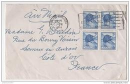 CANADA YT N°274 BLOC DE QUATRE OBLITERES SUR LETTRE POUR LA FRANCE THEME ANIMAUX CASTOR - 1952-.... Règne D'Elizabeth II