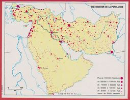 Distribution De La Population En Arabie Saoudite, Syrie, Turquie, Iran, Irak, Afghanistan, Pakistan, Israël ... 1970. - Vieux Papiers