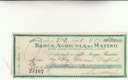 Banca Agricola Di Matino, Assegno Circolare Di Lire 4200 Anno 1947 - Chèques & Chèques De Voyage