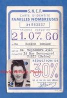 Carte Ancienne SNCF D'identité - Famille Nombreuse - Cachet Ouest Gare Saint Lazare 1957 - Denise Banier Paris - Historical Documents