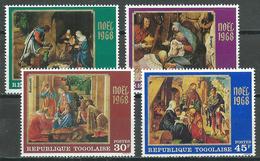 Togo YT N°593/596 Noel 1968 Tableaux Neuf ** - Togo (1960-...)