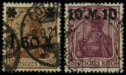 Dt. Reich 154a,157II O, 1921, 1.60 M. Auf 5 Pf. Gelbbraun Und 10 M. Auf 75 Pf. Schwärzlichrosalila, Beide In Type II, 2 - Gebraucht