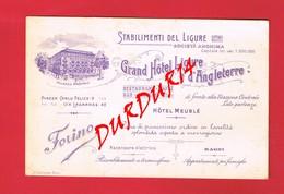 1 Carte De Visite ITALIE TORINO Grand Hôtel Ligure D'Angleterre - Cartoncini Da Visita