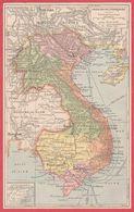 Carte De L'Indochine Française. 1909. - Vieux Papiers