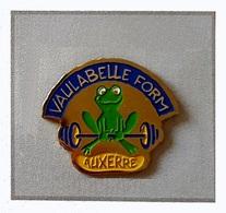 Pin's  Ville, Animal  GRENOUILLE  Verte   Sur  Publicité   Centre De Fitness  VAULABELLE  FORM  à  AUXERRE  ( 89 ) - Animals