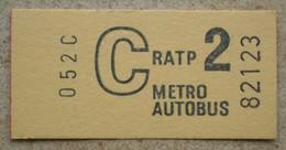 1 Ticket Jamais Utilisé C  RATP METRO AUTOBUS 2 éme Classe (années 70) - Subway