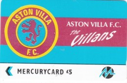 UK - Aston Villa F.C.(PYF004), CN : 3PFLP, Tirage %5900, Used - [ 4] Mercury Communications & Paytelco