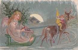 Christmas Greetings, Angel Rides Sled Elf Rides Deer, C1900s Vintage Tucks Electra Series #4 Postcard - Christmas