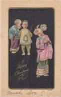 Happy Christmas Greetings Chinese Ethnic Children, C1900s Vintage Postcard - Christmas