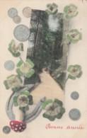 New Year Greetings, Good Luck Mushroom, Coins Horseshoe Clovers, C1910s Vintage Postcard - New Year