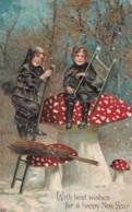 New Year Greetings, Chimney Sweeps And Mushroom, C1900s Vintage Embossed Postcard - New Year