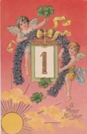 New Year Greetings, Cherubs Children, Good Luck, C1900s Vintage Embossed Postcard - New Year