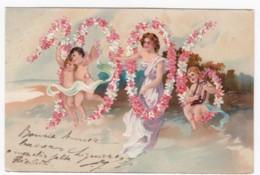 1906 New Year Date, Cherubs Beautiful Woman In Numbers, C1900s Vintage Embossed PFB #5407 Postcard - New Year