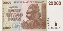 Zimbabwe 20.000 Dollars, P-73 (2008) - UNC - Zimbabwe