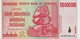Zimbabwe 100 Million Dollars, P-80 (2008) - UNC - Zimbabwe