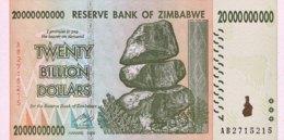 Zimbabwe 20 Billion Dollars, P-86 (2008) - UNC - Zimbabwe