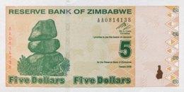Zimbabwe 5 Dollars, P-93 (2009) - UNC - Simbabwe