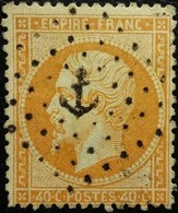 FRANCE Y&T N°23b Napoléon 40c Orange Vif. Oblitéré. Losange Petite Encre - 1862 Napoleon III