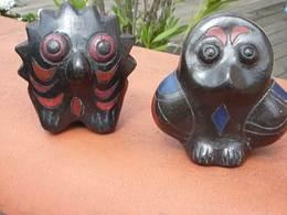 2 Sujets En Terre Cuite / Petite Chouette + Hibou / Artisanat / Art Populaire Tribal / Collection / - Autres Collections