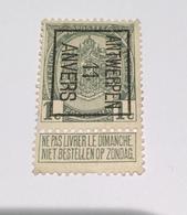 1911 1c Anvers - Typo Precancels 1906-12 (Coat Of Arms)