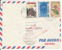 Cambodia Air Mail Cover Sent To Denmark Phnompenh 15-12-1970 (1 Of The Stamps Damaged By Opening The Cover - Cambodia