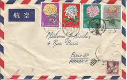CHINE- Enveloppe Par Avion De 1961-Série De 4 Timbres Chrysanthèmes 1960 Et 1 Timbre N°Y/T 1063 (ref16) - 1949 - ... République Populaire