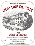 Etiquette (10X12,4)  Domaine De COTS 1988  Côtes De Bourg  Pierre Bergon & Fils Propriétaires à Bayon/Gironde 33 - Bordeaux