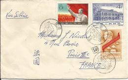 CHINE- Enveloppe PEKIN Pour PARIS De 1961-Série De 3 Timbres N°Y/T 1273 - 1274 - 1224  (ref.17) - 1949 - ... République Populaire