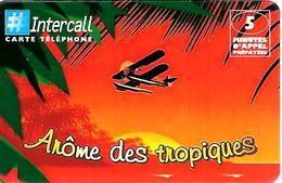 CARTE-n-PREPAYEE-INTERCALL- 5Mn-30/11/2000-CAFE -AROME DES TROPIQUES-N°1-HYDRAVION  COUCHER SOLEIL-25500ex-TBE    - - France