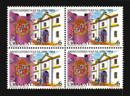 APOSTADERO NAVAL MONTEVIDEO SPAIN ARMY FLAG FALKLANDS  SHIP URUGUAY MNH BLOCK OF 4 ** - Stamps