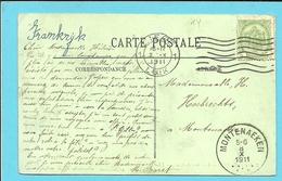 83 Op Kaart Met Als Aankomst Stempel MONTENAEKEN (28mm) - 1893-1907 Coat Of Arms
