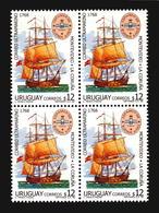 POSTAL LINK BETWEEN SPAIN CORUÑA AND MONTEVIDEO SHIP ESPAMER 98 URUGUAY MNH BLOCK OF 4 ** - Post