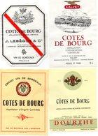4 étiquettes   Côtes De Bourg   J Lebègue & Cie , Calvet  , Dourthe Freres - Collections, Lots & Séries