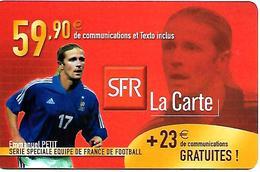 CARTE-n-SFR-RECHARGE GSM-59.90€-Série EQUIPE De FRANCE-FOOT-E,PETIT-Plastic Epais-TBE - France