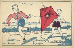 Two Boys Flying A Kite (1940s) Postcard - Postcards