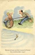 Comic Postcard Fishing Man Catches Mermaid (1950s) - Humour